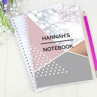 Personalised Geometric A5 Notebook - Ideal gift for Mothers Day, Valentines, Birthdays and Back to School.